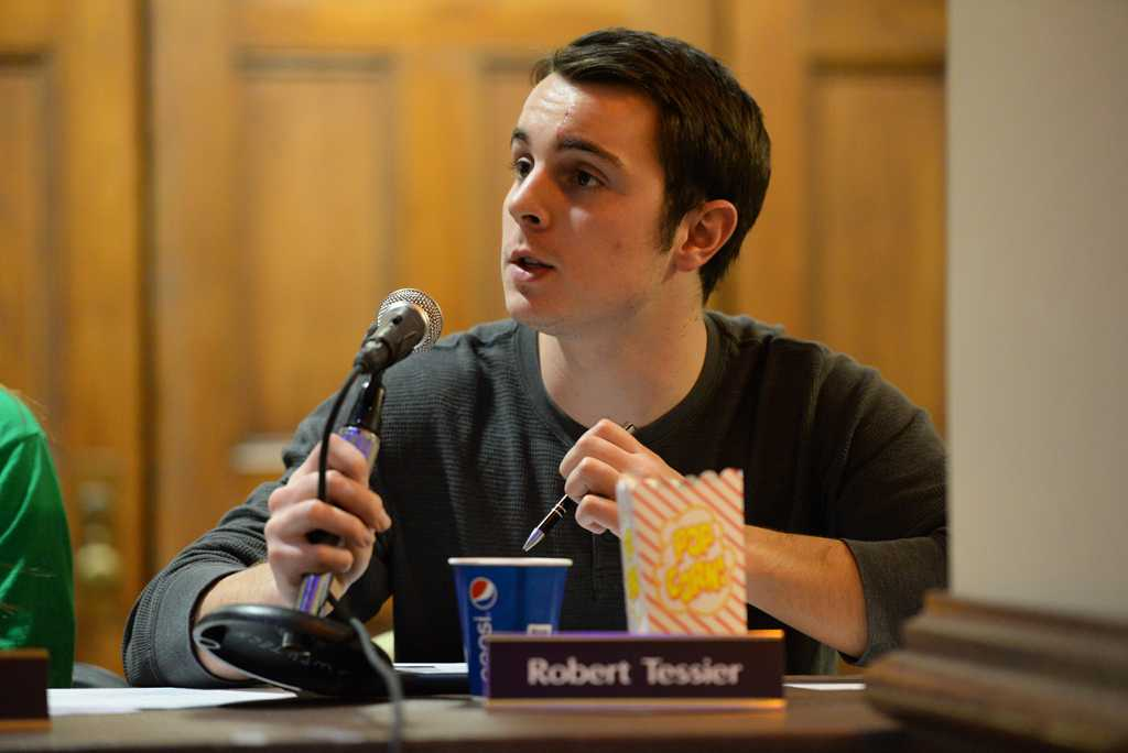 Student Government Board member Robert Tessier speaks at the most recent meeting.  Meghan Sunners | Senior Staff Photographer