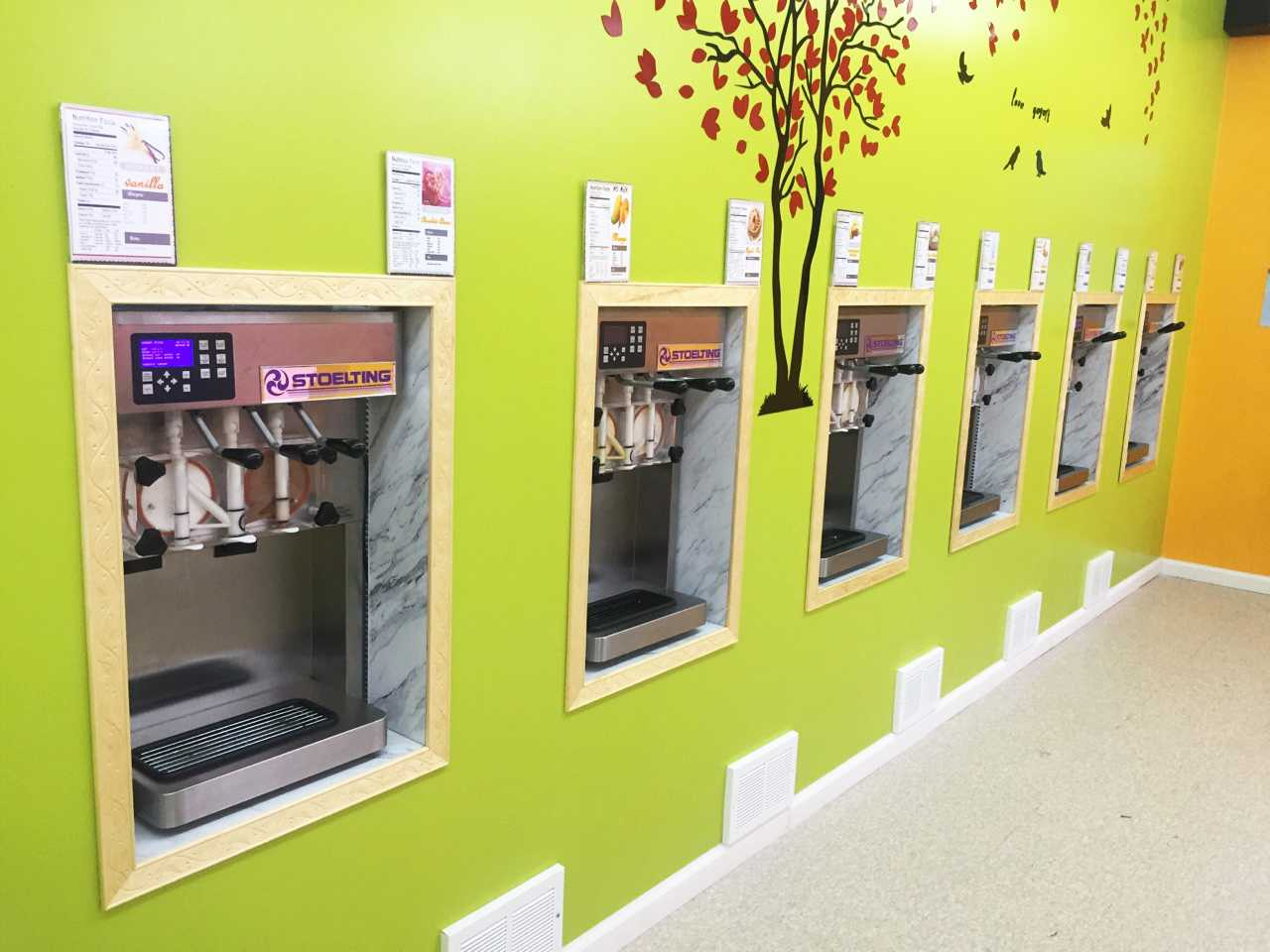 Love Yogurt's yogurt stations allow customers to fill their own cups.  Chang Zuo | Staff Writer