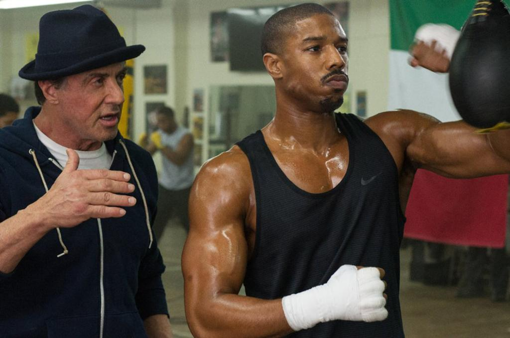 Sylvester Stallone, left, and Michael B. Jordan in Creed.(Barry Wetcher/Warner Bros. Entertainment and MGM)