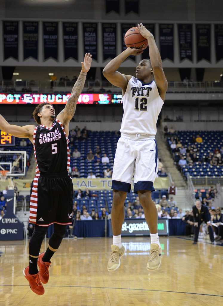 Chris Jones takes a shot during Friday night's game.  Wenhao Wu | Staff Photographer