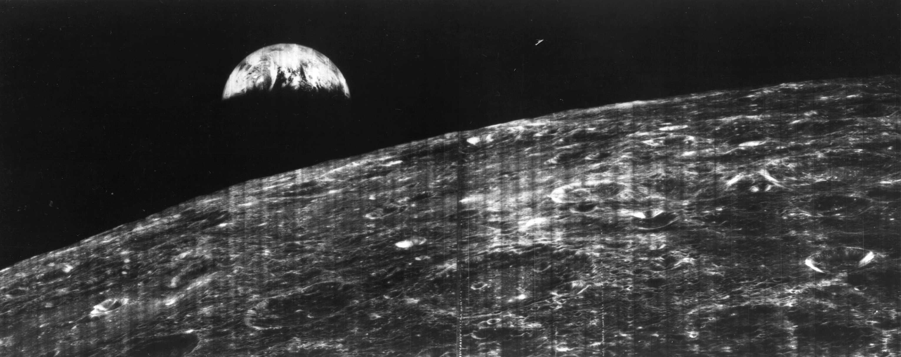 Our first view of Earth from the moon would have been one of the images Bruce Hapke studied. Wikimedia Commons