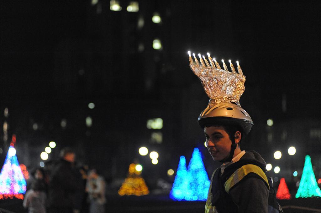 Pitt community members celebrate Hanukkah in Schenley Plaza. Stephen Caruso | Contributing Editor