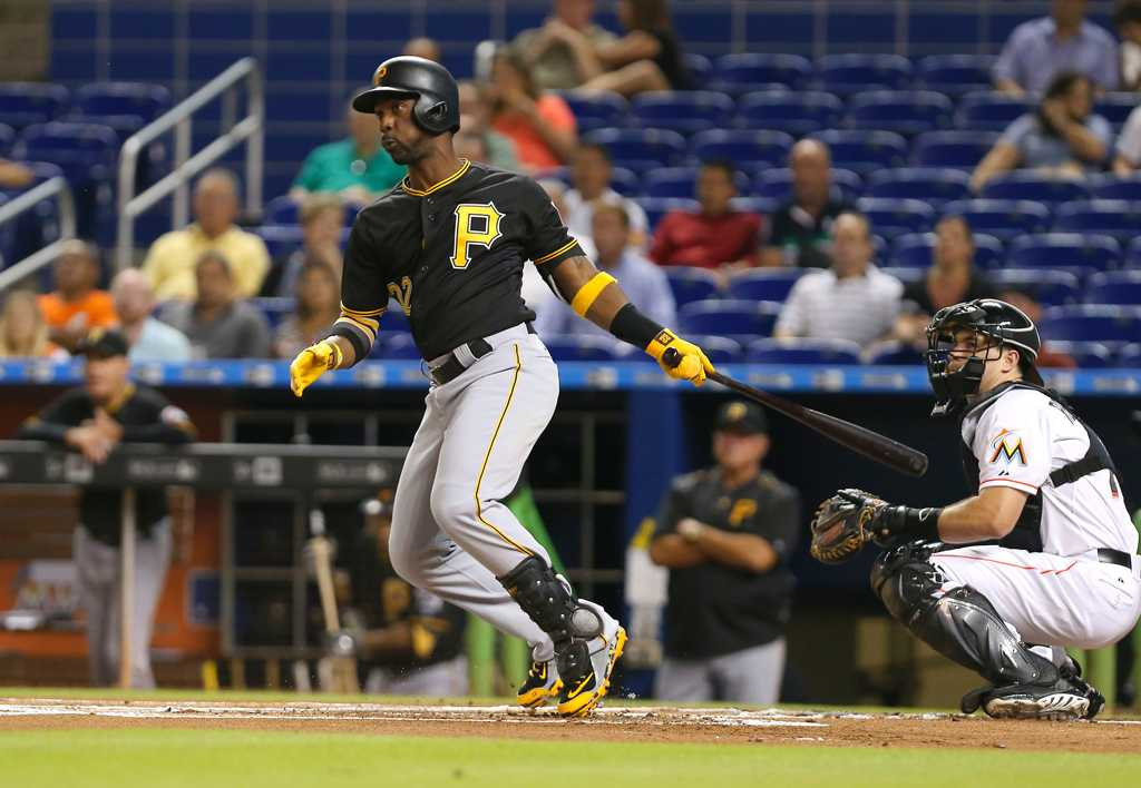 The Pittsburgh Pirates' Andrew McCutchen hits an RBI double in the first inning against the Miami Marlins on Wednesday, Aug. 26, 2015, at Marlins Park in Miami. The Pirates won, 7-2. (David Santiago/El Nuevo Herald/TNS)