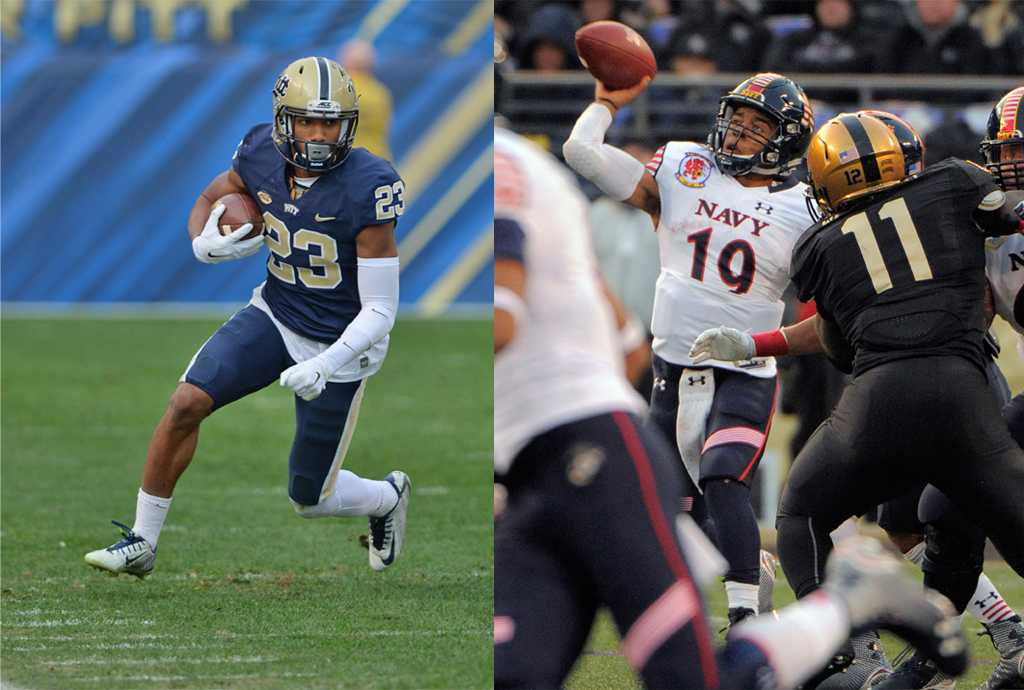 Pitt will face the Navy in the Military Bowl on December 28.  Left:  Wenhao Wu | Staff Photographer,  Right: Karl Merton Ferron/Baltimore Sun/TNS