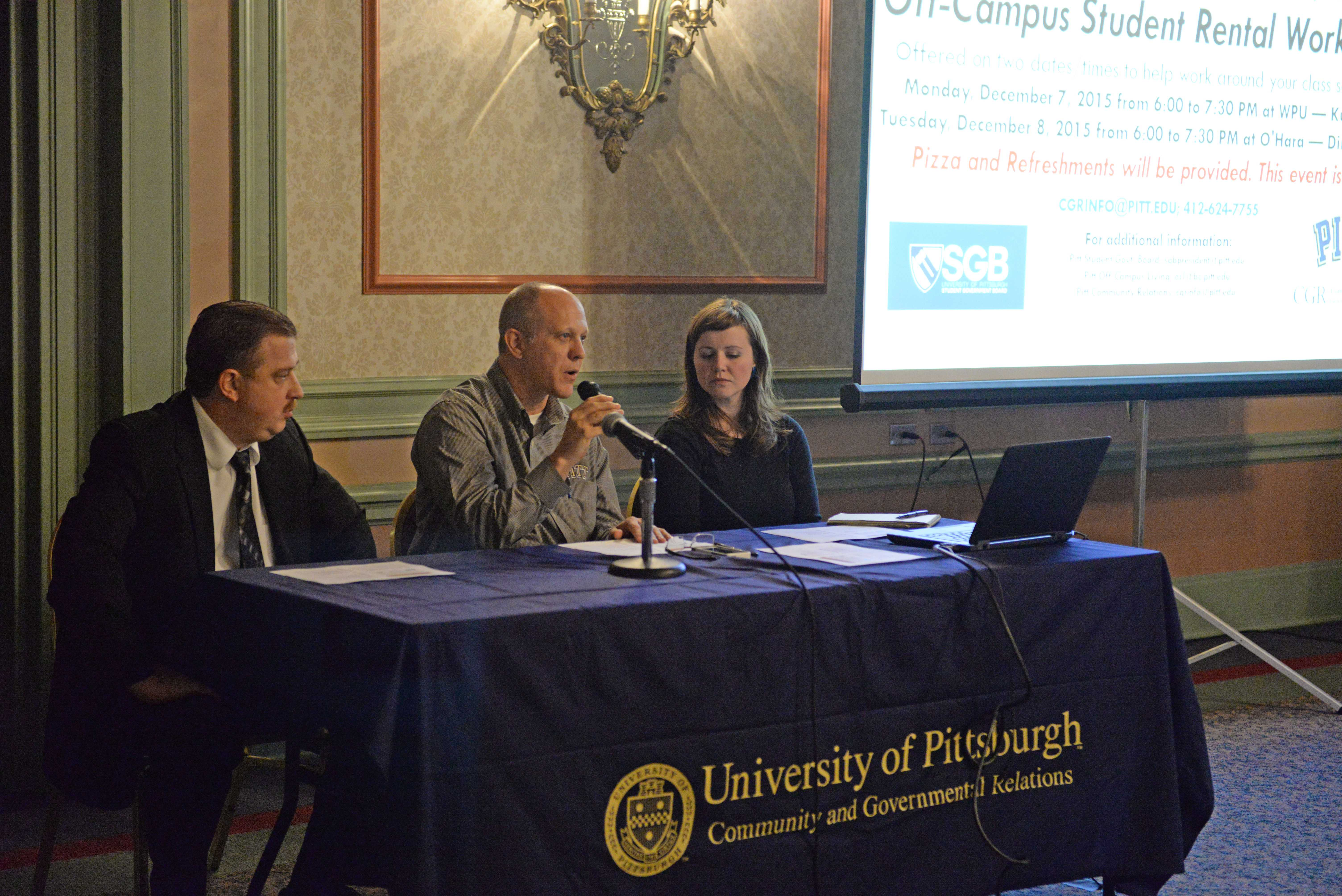The University of Pittsburgh Community and Governmental Relations hosted an off-campus student rental workshop on Monday night.  Abigail Self | Staff Photographer