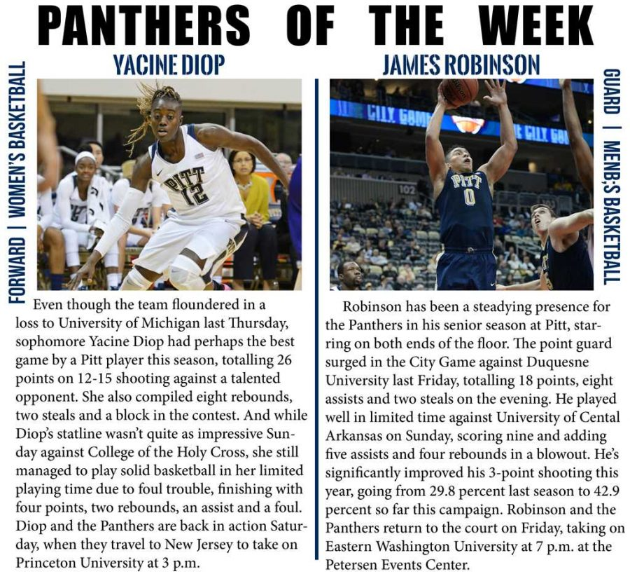 Yacine+Diop+and+James+Robinson+are+this+week%27s+Panthers+of+the+week.++Photos+by+Wenhao+Wu+%7C+Staff+Photographer