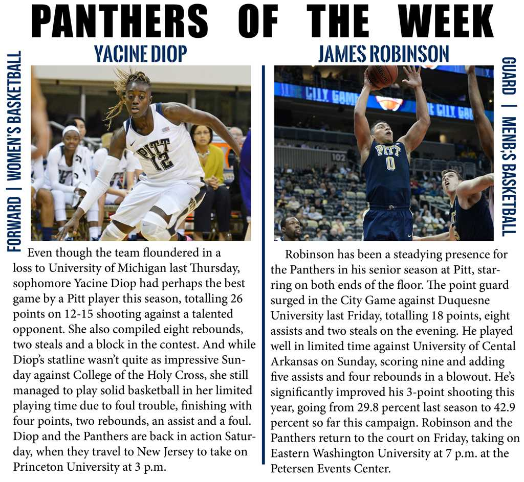 Yacine Diop and James Robinson are this week's Panthers of the week.  Photos by Wenhao Wu | Staff Photographer