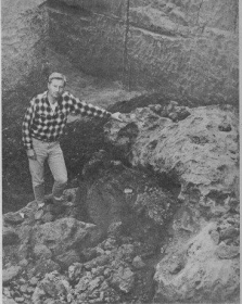 During his eighth summer in South America, Pitt geology professor William Cassidy dug up an 18-­ton meteorite. Photo courtesy of Historic Pittsburgh