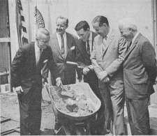 Congressman Moorhead, Chancellor Litchfield, Congressman Fulton, Senator Scott and General Harris B. Hull of NASA celebrate the opening of Pitt's Space Research Coordination Center on June 2, 1965. Photo courtesy of Historic Pittsburgh
