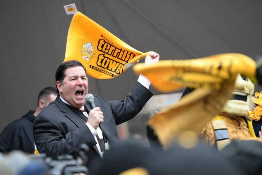 Mayor+Bill+Peduto+joined+in+the+festivities+and+waved+a+terrible+towel+furiously.+Jeff+Ahearn+%7C+Assistant+Visual+Editor