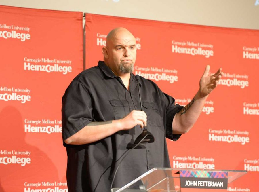 John+Fetterman+speaks+at+the+Democratic+U.S.+Senate+Candidate+Forum+at+Carnegie+Mellon+University+Sunday+afternoon.++Will+Miller+%7C+Staff+Photographer