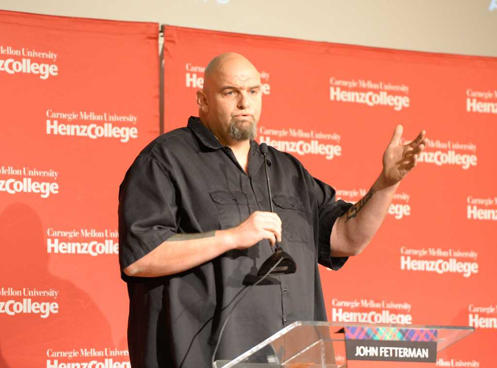 John Fetterman speaks at the Democratic U.S. Senate Candidate Forum at Carnegie Mellon University Sunday afternoon.  Will Miller | Staff Photographer