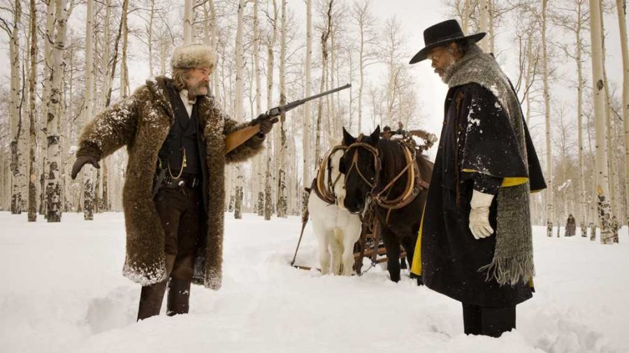 Kurt+Russell%2C+left%2C+and+Samuel+L.+Jackson+in+%22The+Hateful+Eight.%22+%28The+Weinstein+Company%29