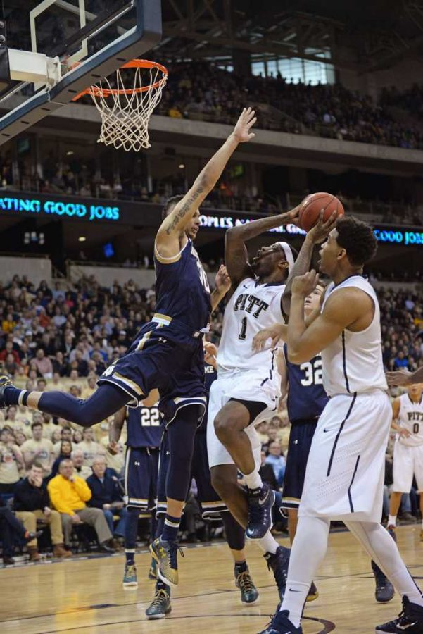 Forward+Jamel+Artis+goes+for+a+basket+in+last+year%27s+matchup+against+Notre+Dame.+++Pitt+News+File+Photo