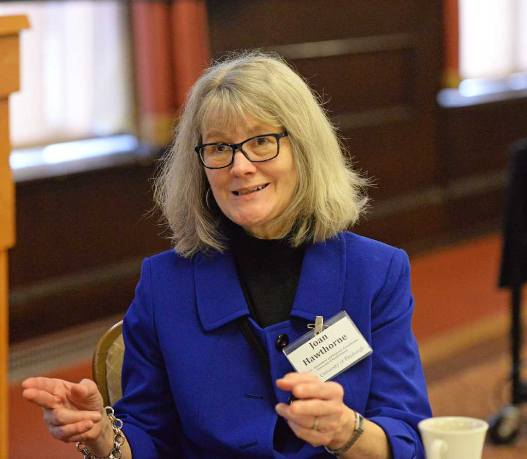 Joan Hawthorne, the Director of Assessment and Regional Accreditation at the University of North Dakota, spoke about making assessment useful.   Will Miller | Staff Photographer
