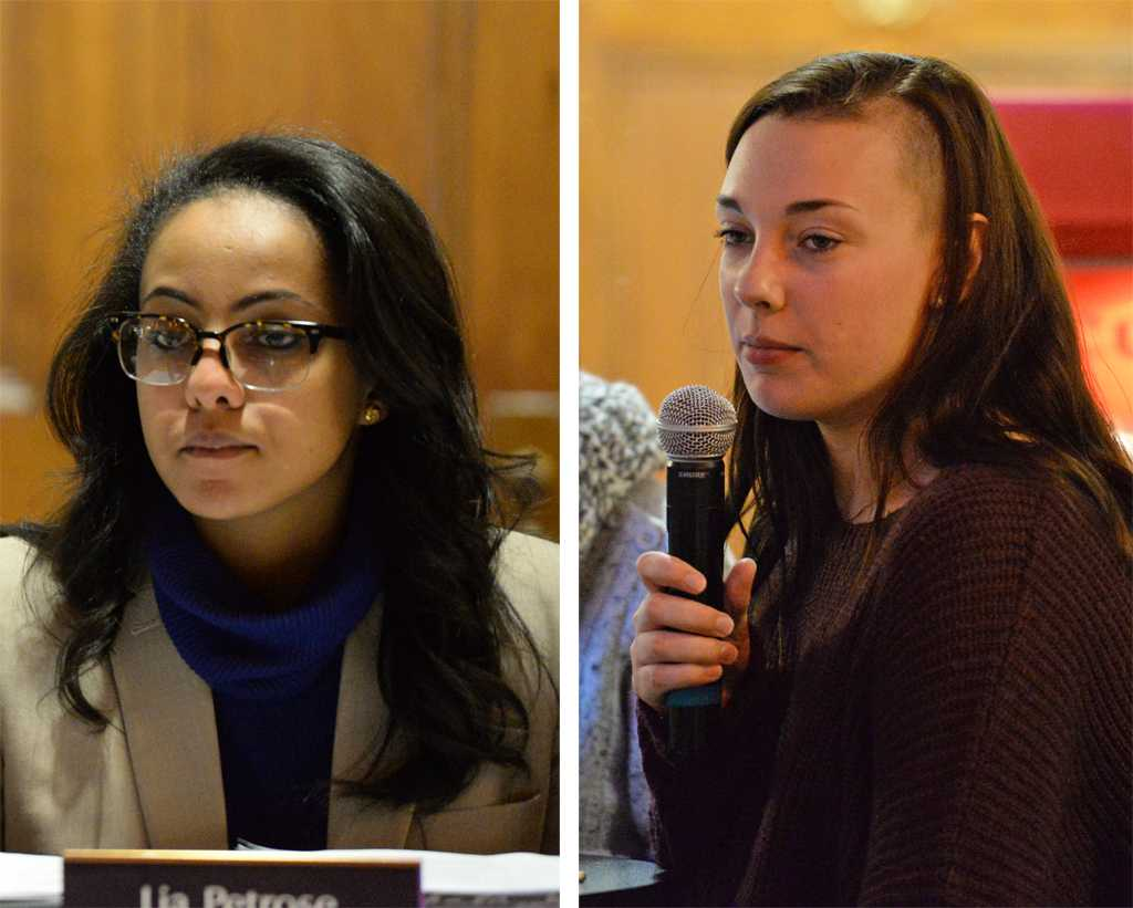 Lia  Petrose introduced a bill Tuesday that would put a cap on the number of students who could receive grants for research conferences. Celia Millard led updates of SGB election code that would affect this semester's election.  Will Miller | Staff Photographer