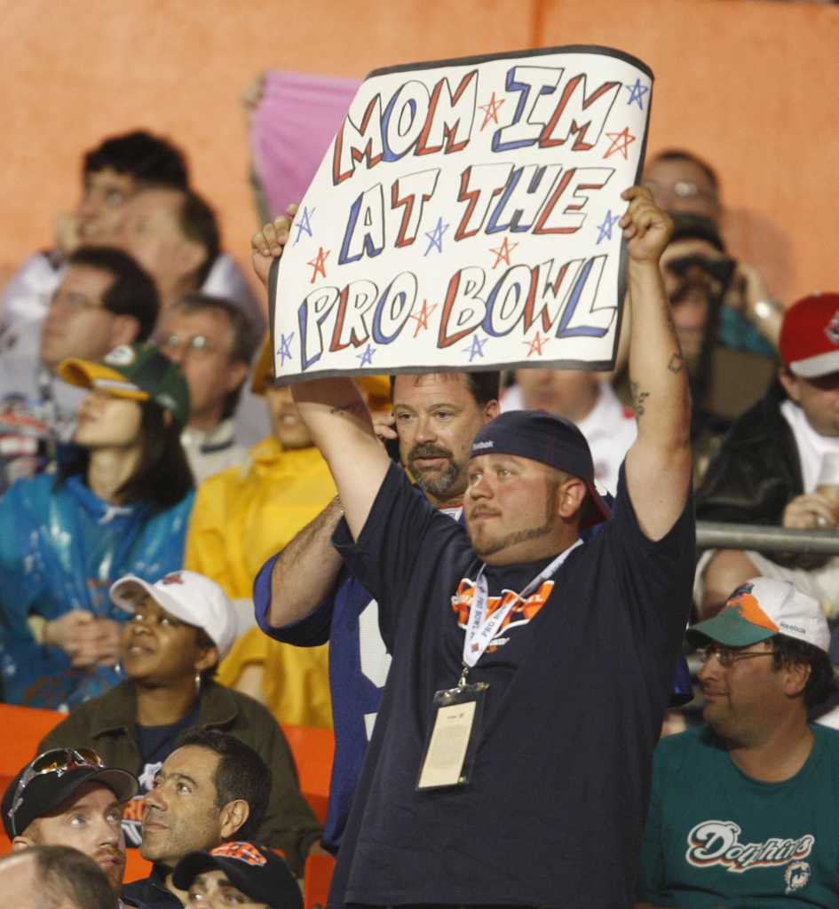 A fan holds up a sign during a Pro Bowl at Sun Life Stadium in Miami Gardens, Florida. (Joe Rimkus Jr./Miami Herald/MCT)