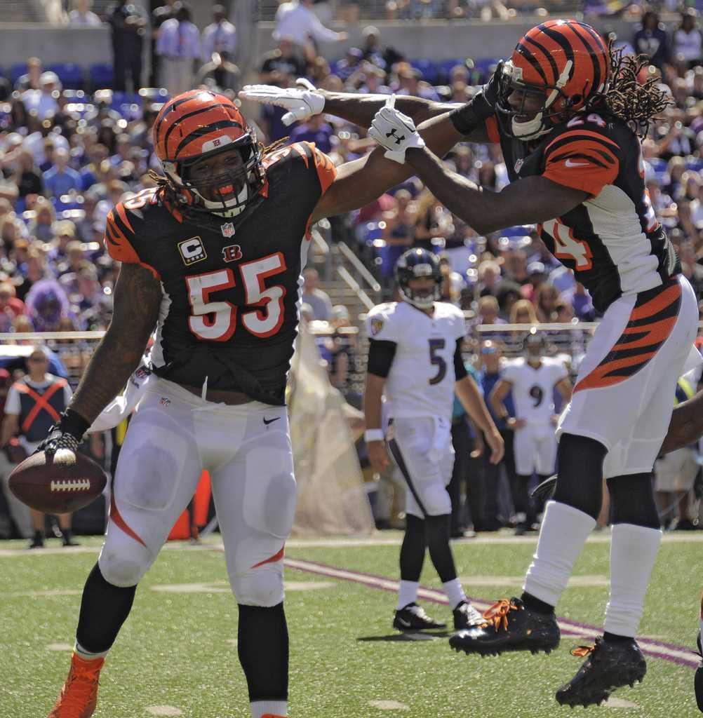 Cincinnati Bengals linebacker, Vontaze Burfict (55) hit and concussed Pittsburgh Steelers' receiver Antonio Brown in Sunday's post-season game. (Karl Merton Ferron/Baltimore Sun/MCT)
