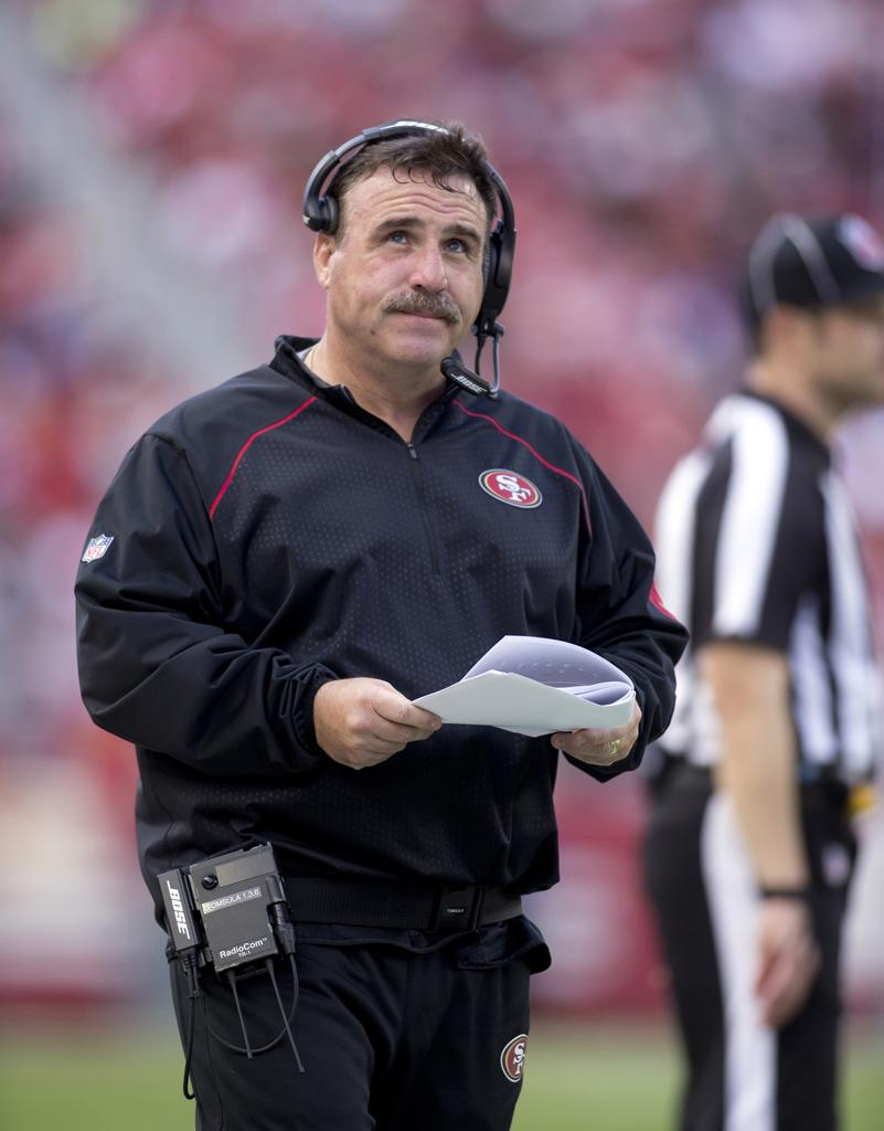 Former San Francisco 49ers head coach Jim Tomsula looks up at the scoreboard at Levi's Stadium.  The 49ers fired Tomsula after Sunday's game.   (D. Ross Cameron/Bay Area News Group/TNS)