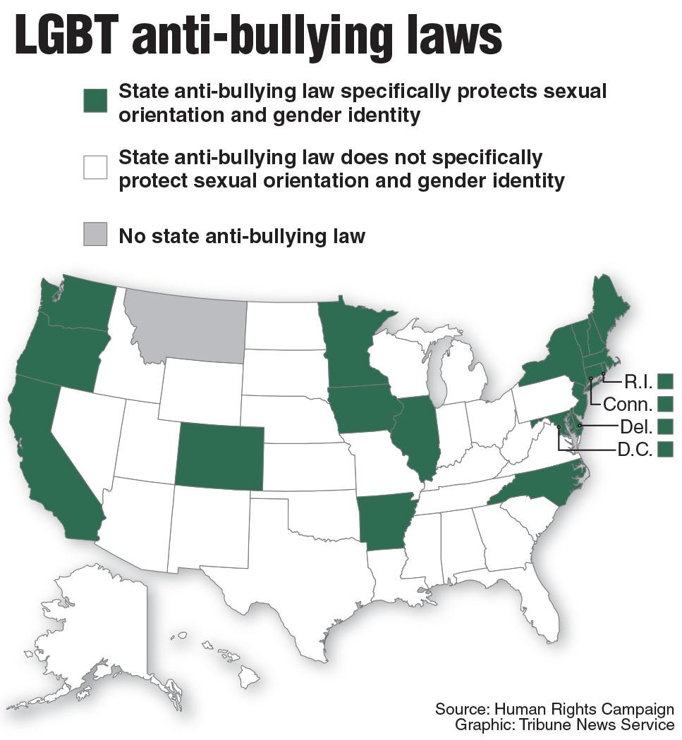 Map of states with laws protecting LGBT students from harassment. Tribune News Service 2015