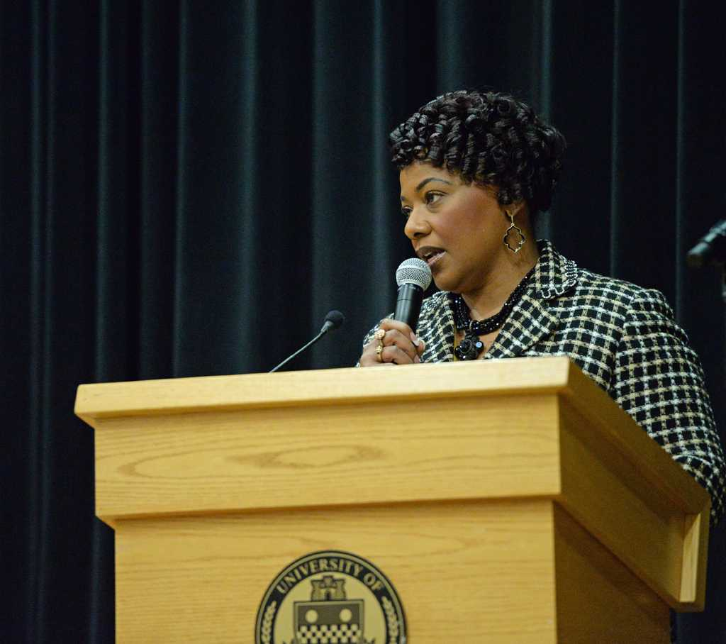 Bernice King spoke to students Friday night in the O'Hara Student Center.  Jordan Mondell | Staff Photographer