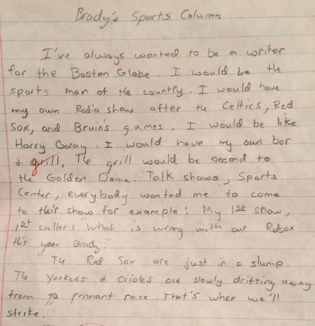 Young Post-Gazette reporter Brady McCollough's first shot at sports writing. |Courtesy of Brady McCollough.