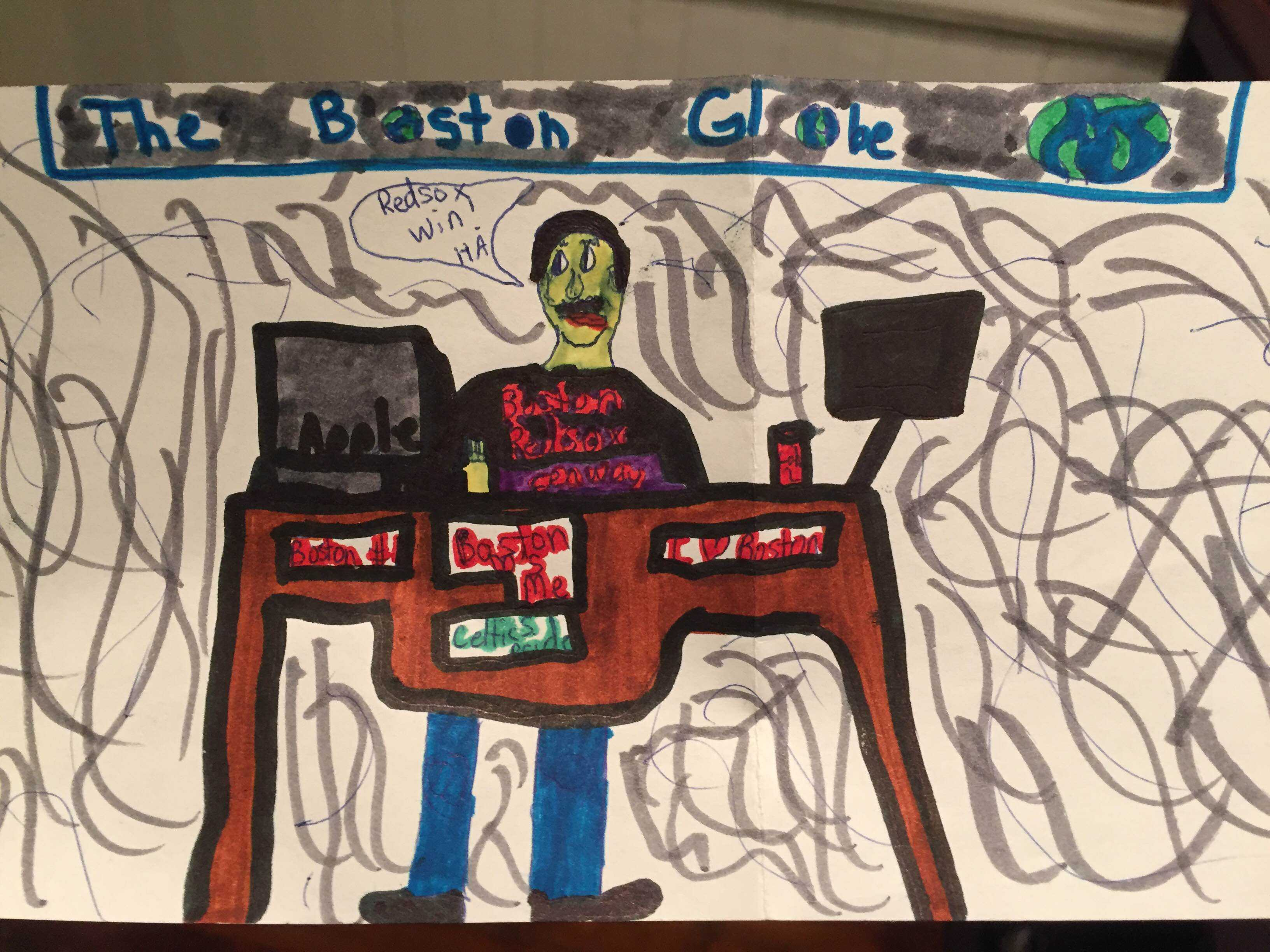 An elementary-aged Brady McCollough dreamed of being a sports reporter at The Boston Globe.   Courtesy of Brady McCollough.