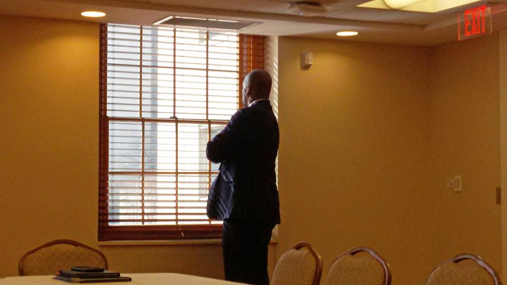 Kenyon Bonner looks out the window during his public interview Tuesday afternoon. Dale Shoemaker | News Editor