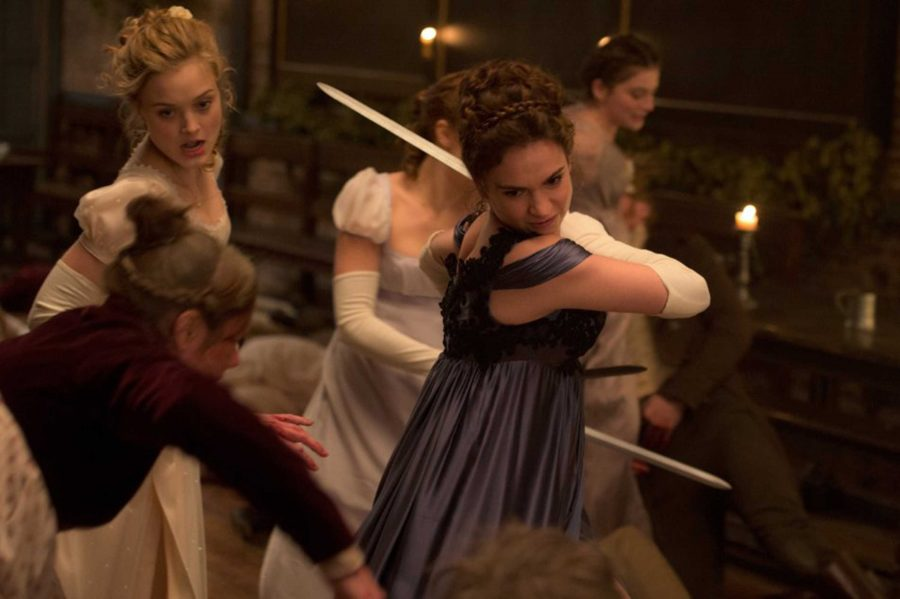 Bella+Heathcote+and+Lily+James+in+%22Pride+and+Prejudice+and+Zombies.%22+%28Jay+Maidment%2FCTMG%2C+Inc.%29