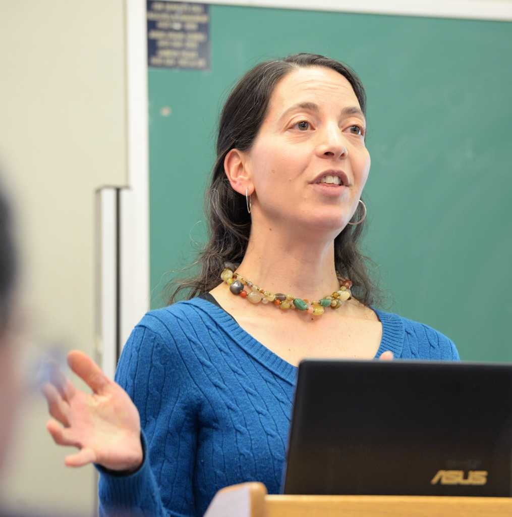 "Sarah Goodkind, associate professor, School of Social Work, Department of Sociology, and Gender, Sexuality, and Women's Studies Program, presented the lecture ""Are My Pants Lowering Your Test Scores?: Blaming Girls for Challenges Facing Boys"" Thursday afternoon in the Cathedral of Learning.  Donny Falk 