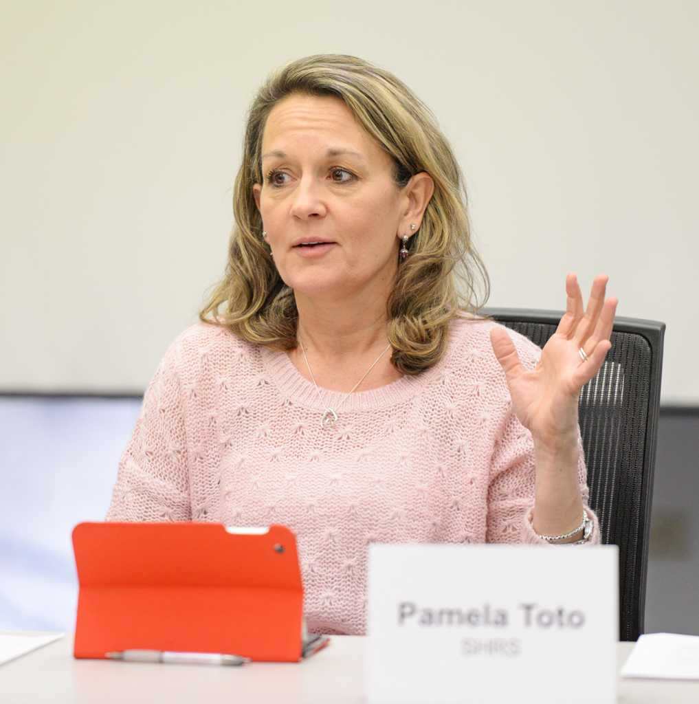 Co-chair, Pamela Toto, speaking during the University Senate: Community Relations Meeting which was held on Tuesday in Hillman Library. The committee approved a proposal to focus on diversity and inclusion next academic year.  Will Miller   Staff Photographer