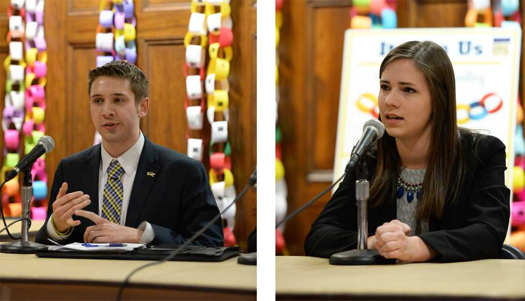 Matt Sykes and Natalie Dall participated in the SGB debate Monday night in Nordy's Place.  John Hamilton | Staff Photographer