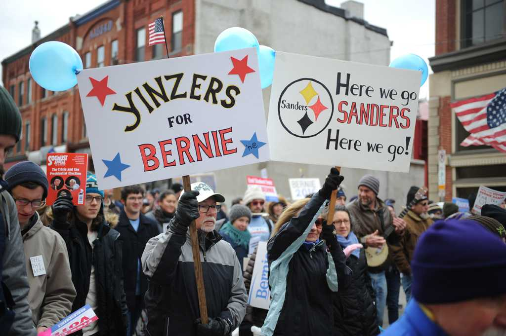Bernie Sanders supporters marched from Oakland to downtown Saturday morning.  Kate Koenig | Visual Editor