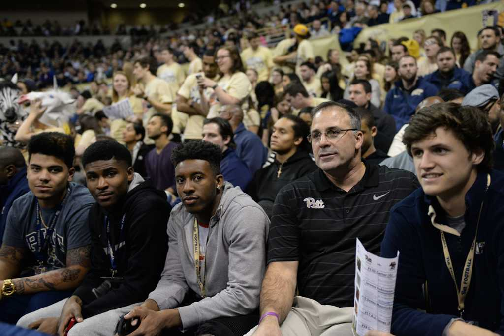 Pitt football recruits sit with Coach Narduzzi at a recent basketball game.  Jeff Ahearn | Assistant Visual Editor