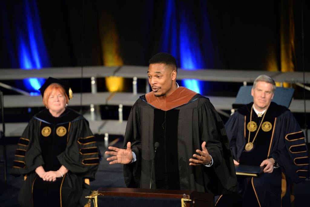 Terrance Hayes speaks after receiving his award.  Will Miller | Staff Photographer