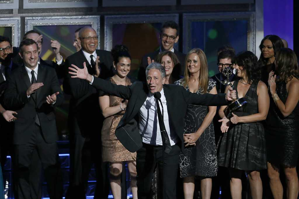 Jon Stewart on stage at the 64th Annual Primetime Emmy Awards at Nokia Theatre, L.A. Live, in Los Angeles, California. (Mark Boster/Los Angeles Times/MCT)