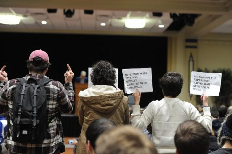Students protested the speaker. Abigail Self | Staff Photographer