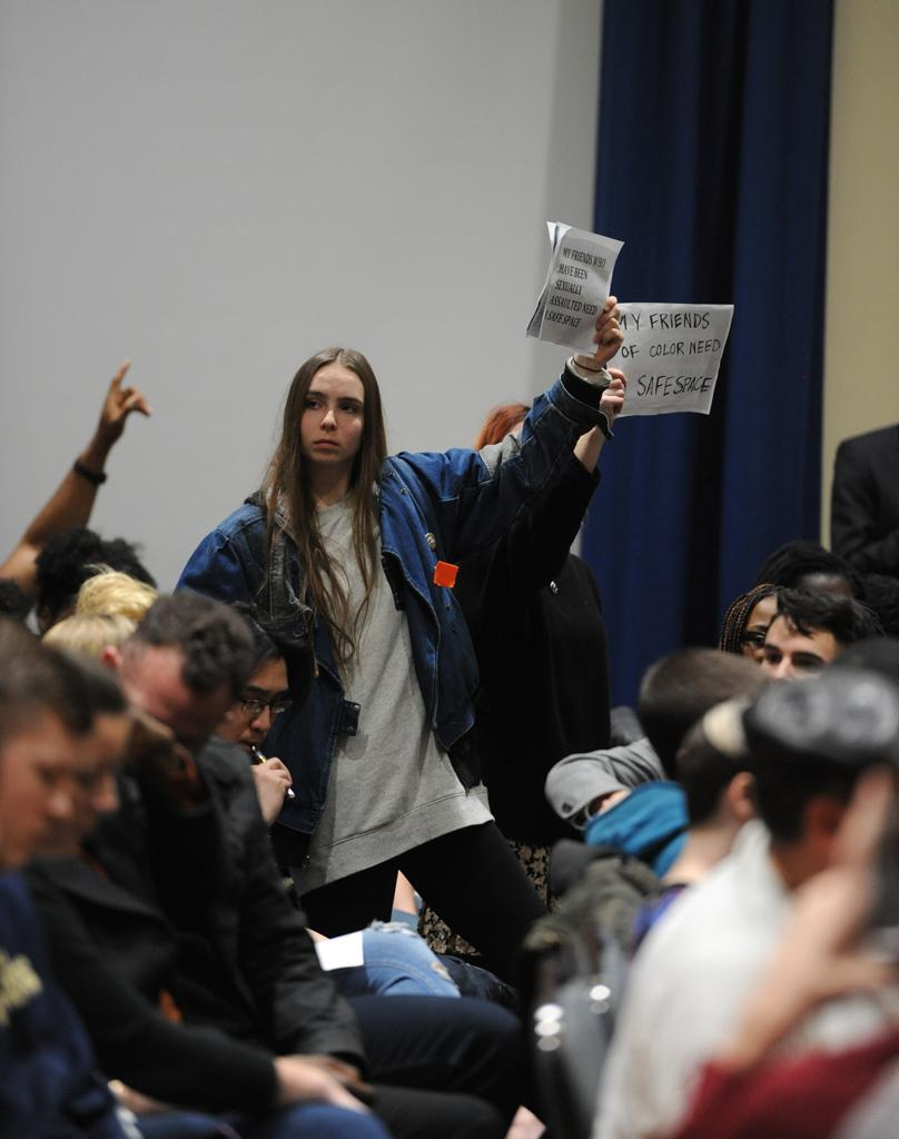 Students protesting Milo Yiannopoulos' presentation. Abigail Self | Staff Photographer