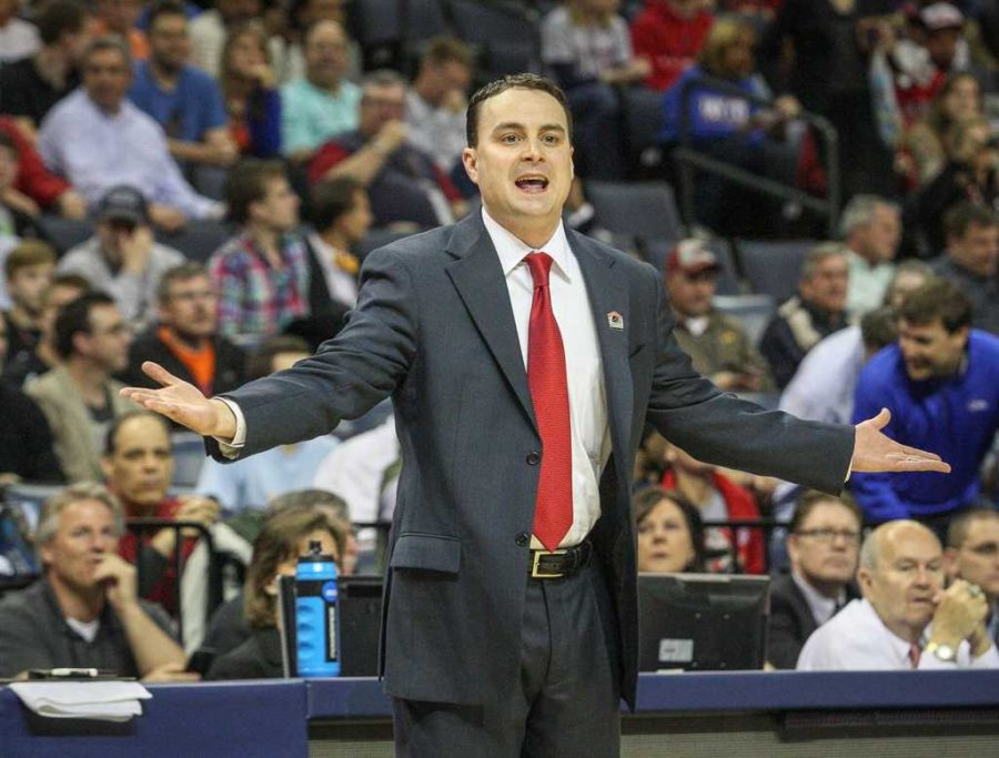 Dayton Flyers coach Archie Miller reacts during first-half action in the NCAA Tournament's Sweet 16 game against the Stanford Cardinal at FedExForum in Memphis, Tenn., on Thursday, March 27, 2014. (Joshua C. Cruey/Orlando Sentinel/MCT)