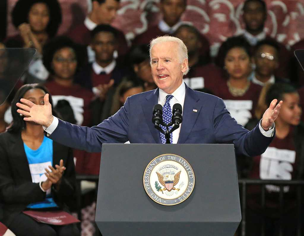 Vice President Joe Biden speaks at Morehouse College during a three-college tour to mobilize students to take action to prevent sexual assault on campuses on Tuesday, Nov. 10, 2015, in Atlanta. (TNS)