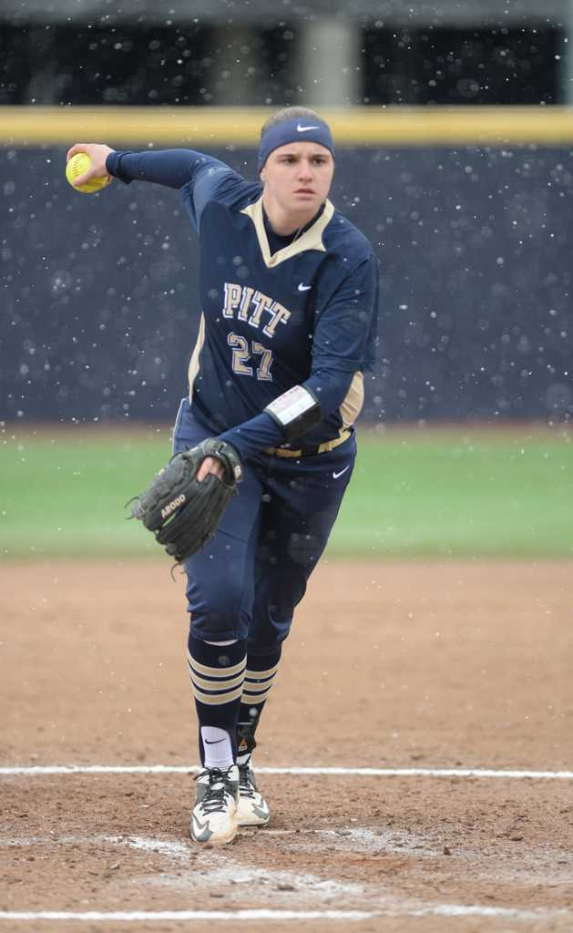 Kayla Harris pitching during March 20th game. John Hamilton | Staff Photographer