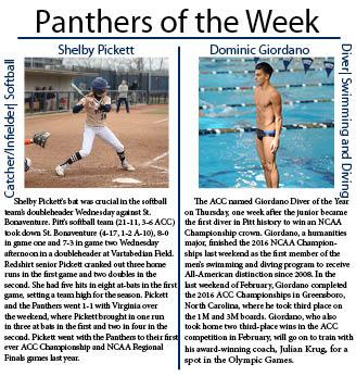 Left photo:  Matt Hawley | Staff Photographer   Right photo: Courtesy of Pitt Athletics