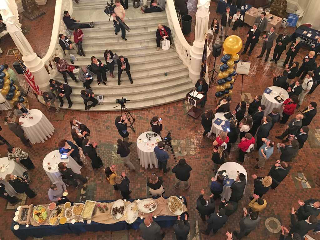 The reception under Harrisburg's Capital dome.   Josh Ye for The Pitt News