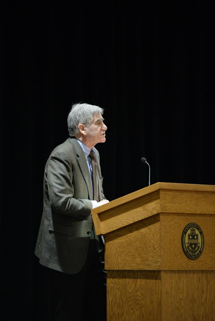 Henry Reichman, the vice president of the American Association of University Professors, spoke to Plenary Committee of Pitt's Senate Council on Wednesday. Reichman's talk focused on the importance of tenure for professors. John Hamilton | Staff Photographer