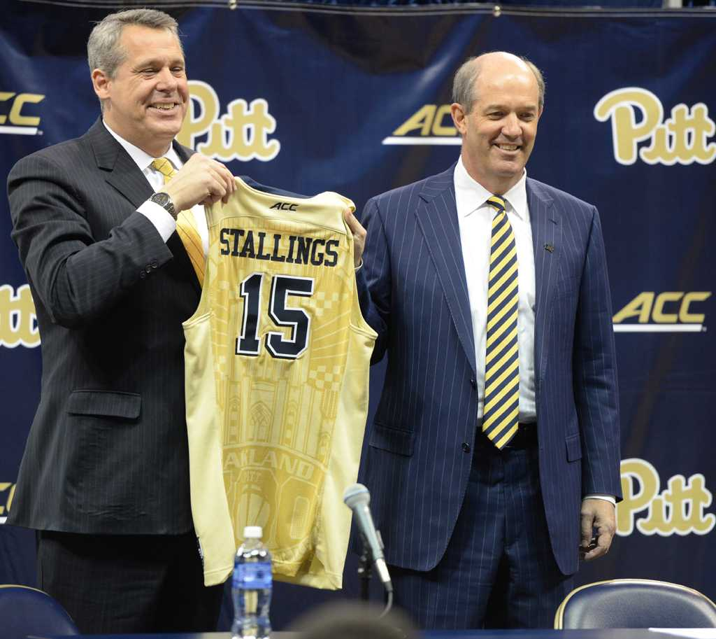Stallings and Barnes at Stallings' first press conference in March 2016. (Photo by Matt Hawley | Senior Staff Photographer)