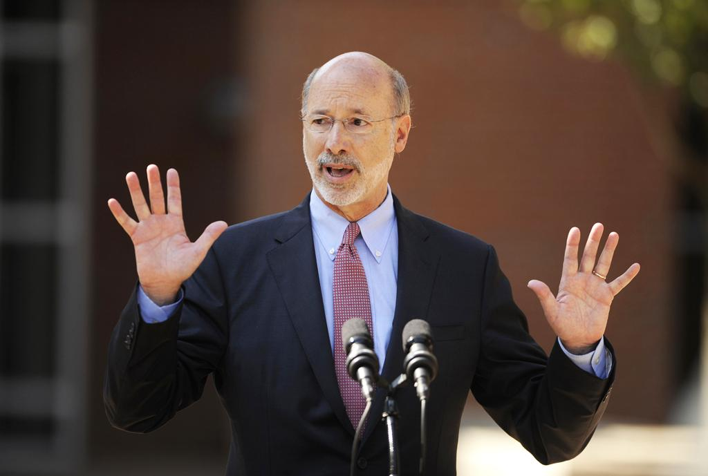 Gov. Tom Wolf speaks in front of Bellefonte Area High School on July 13, 2015 in Bellefonte, Pa. Gov. Wolf visited the school to talk about the Pennsylvania budget. (TNS)