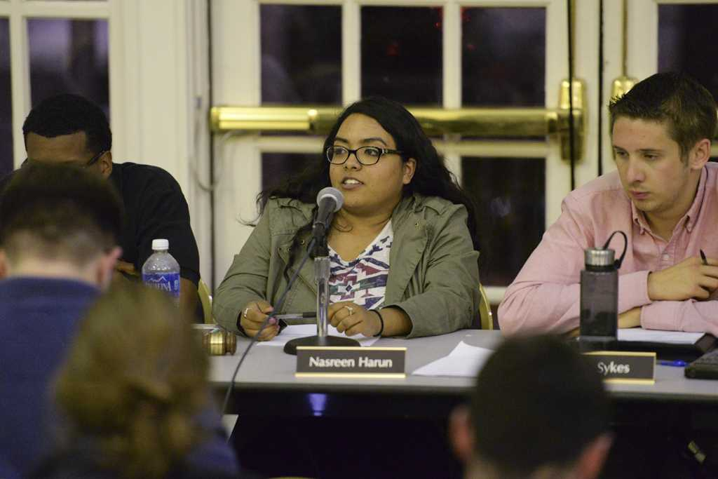 SGB President Nasreen Harun at Wednesday's meeting. Will Miller | Staff Photographer