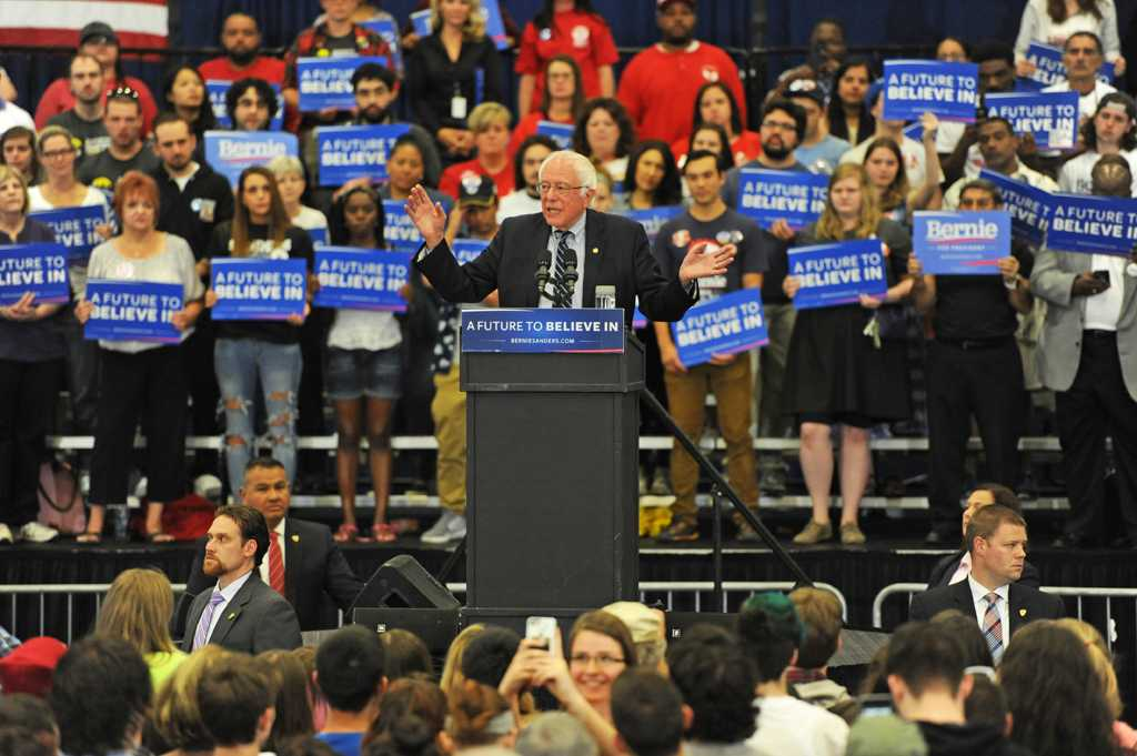 Democratic presidential candidate Bernie Sanders held a rally inside the Fitzgerald Field House Monday afternoon ahead of the Pennsylvania primary. Jordan Mondell | Staff Photographer