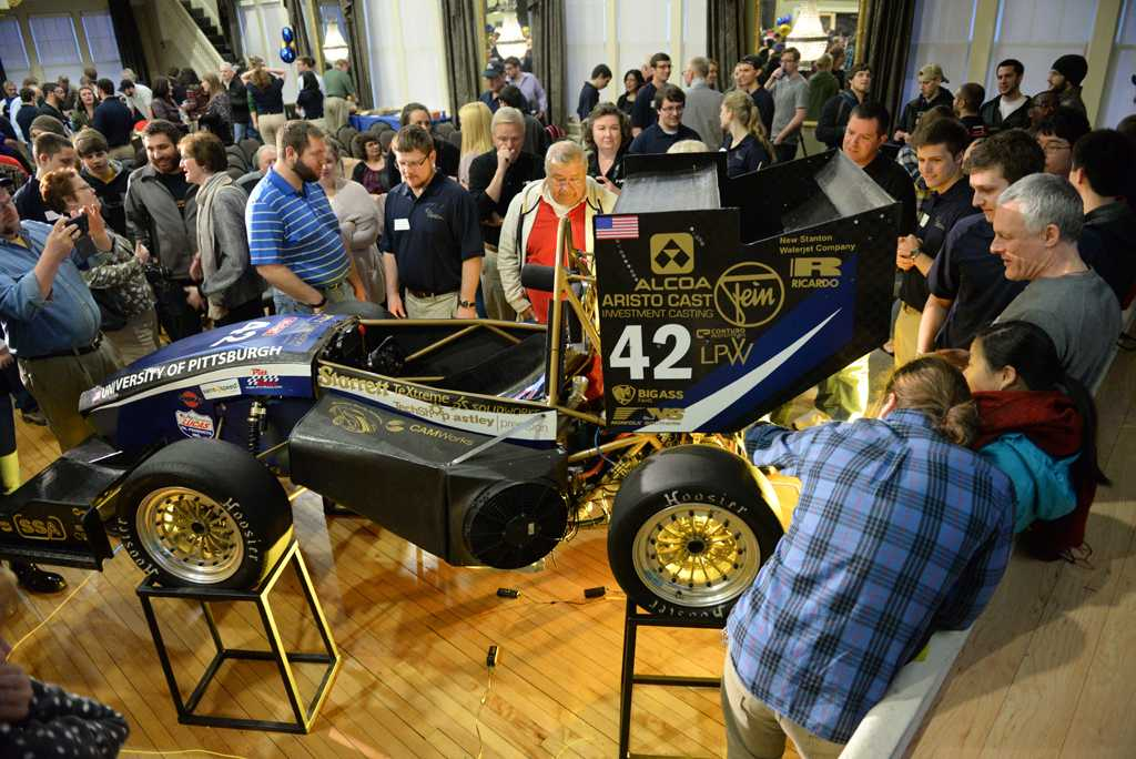 Spectators and sponsors of Pitt's FSAE had a chance to get a closer look at PR-028 during the showcase portion of Saturday night. Will Miller | Staff Photographer