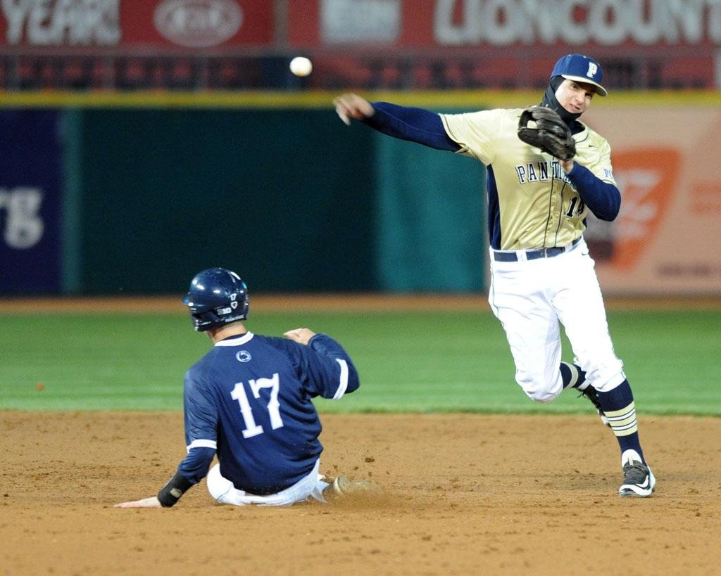 Shortstop Charles Leblanc (14) is Pitt's second player selected in the 2016 MLB Draft, joining T.J. Zeuch. Photo Courtesy of Linsey Fagan
